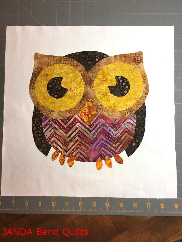 Picture of Owl Bonded to the Background Square
